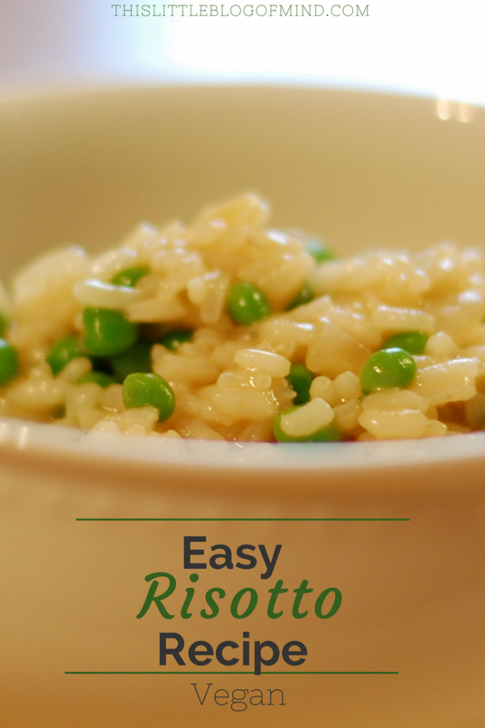 This is an easy risotto recipe. It's a creamy healthy vegan risotto and can easily be adapted to any vegetable add-in. Pictured is an easy pea risotto. | simplywellfamily.com