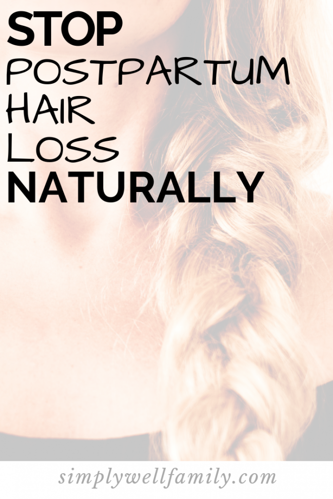 Natural remedies for postpartum hair loss. Including which vitamins will help reduce hair loss. #newmom #pregnancy
