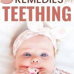 baby chewing on teether to soothe gums